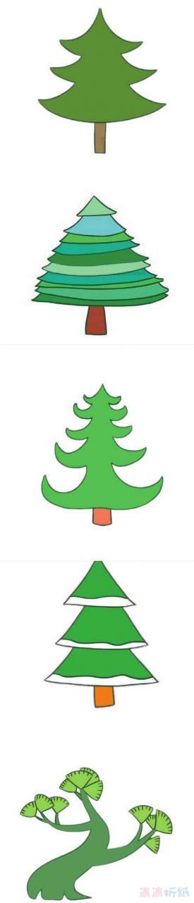 卡通松树怎么画涂颜色 彩色松树简笔画图片