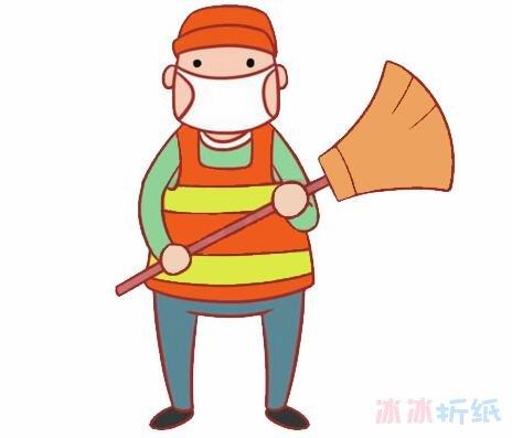 环卫工人的画法步骤图带颜色清洁工简笔画图片